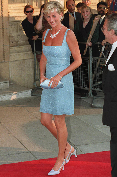 England's Princess Diana arriving in short light blue dress at the Royal Albert Hall for a performance of Swan Lake by the English National Ballet. (Photo by Ken Goff//Time Life Pictures/Getty Images)